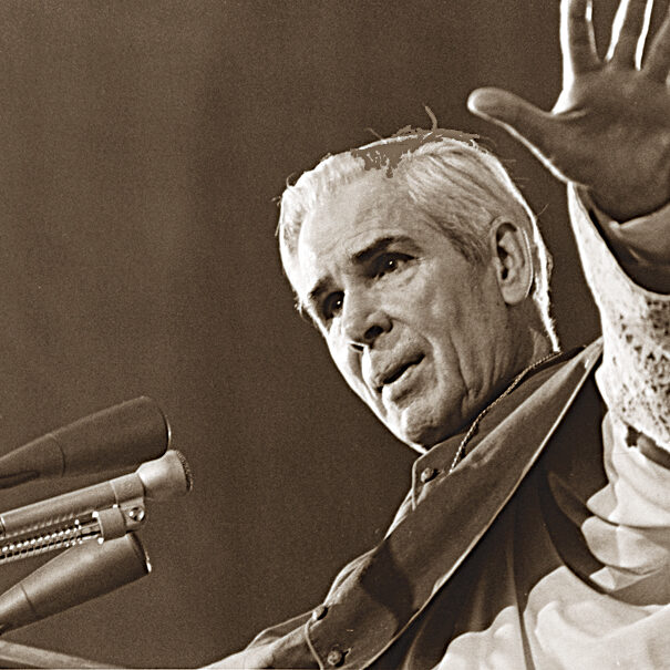 """U.S. Archbishop Fulton J. Sheen is pictured preaching in an undated photo. Pope Benedict XVI has approved the heroic virtues Archbishop Sheen, declaring him """"venerable"""" and clearing the way for the advancement of his sainthood cause. The announcement came June 28 from the Vatican. As a priest he preached on the popular """"The Catholic Hour"""" radio program and went on to become an Emmy-winning televangelist. (CNS photo) (June 28, 2012) See CAUSE-SHEEN June 28, 2012."""