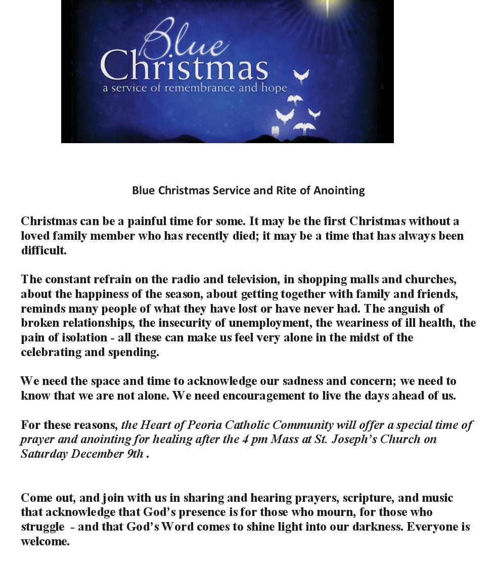 Catholic Diocese of Peoria Blue Christmas Service at St. Joseph ...